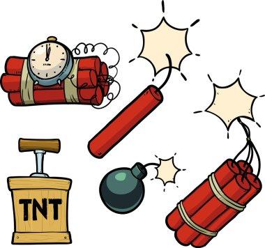 Dynamite, bomb, dynamite bomb with timer.