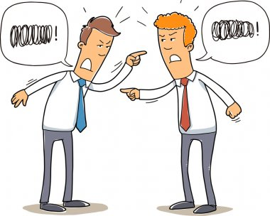 Two young businessmen are quarreling