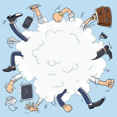 Bad business team. conflict in office. Business fight cartoon cloud. illustration isolated on background. broken tablet and broken smart phone clip art vector