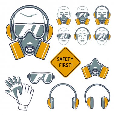 Hand drawn safety signs. Eye protection, hear protection, wear respiratory protection and hand protection. safety first sign stock vector