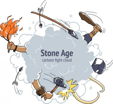 Cartoon fight cloud. stone age caveman mammoth hunting. backdrop for text stock vector