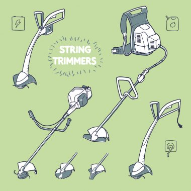 Different models of string trimmers. line trimmer