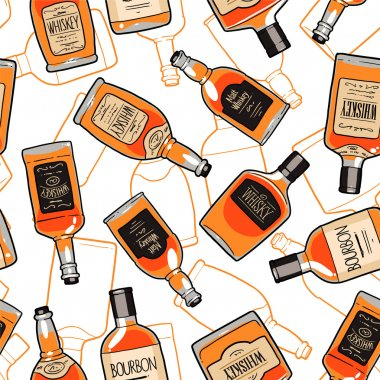 Whiskey bottles endless background