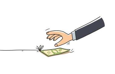 Man's hand taking a money bait