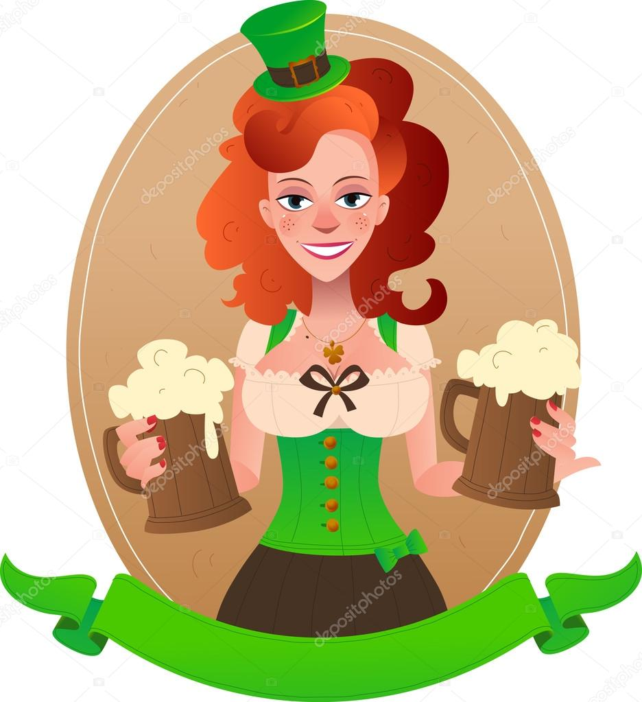 Pretty leprechaun girl with beer