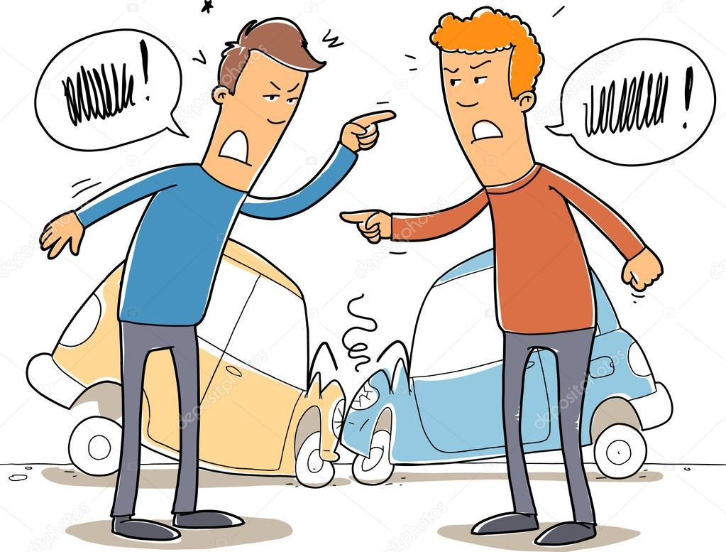 dos mans debate quién tiene la culpa en un accidente automovilístico ...