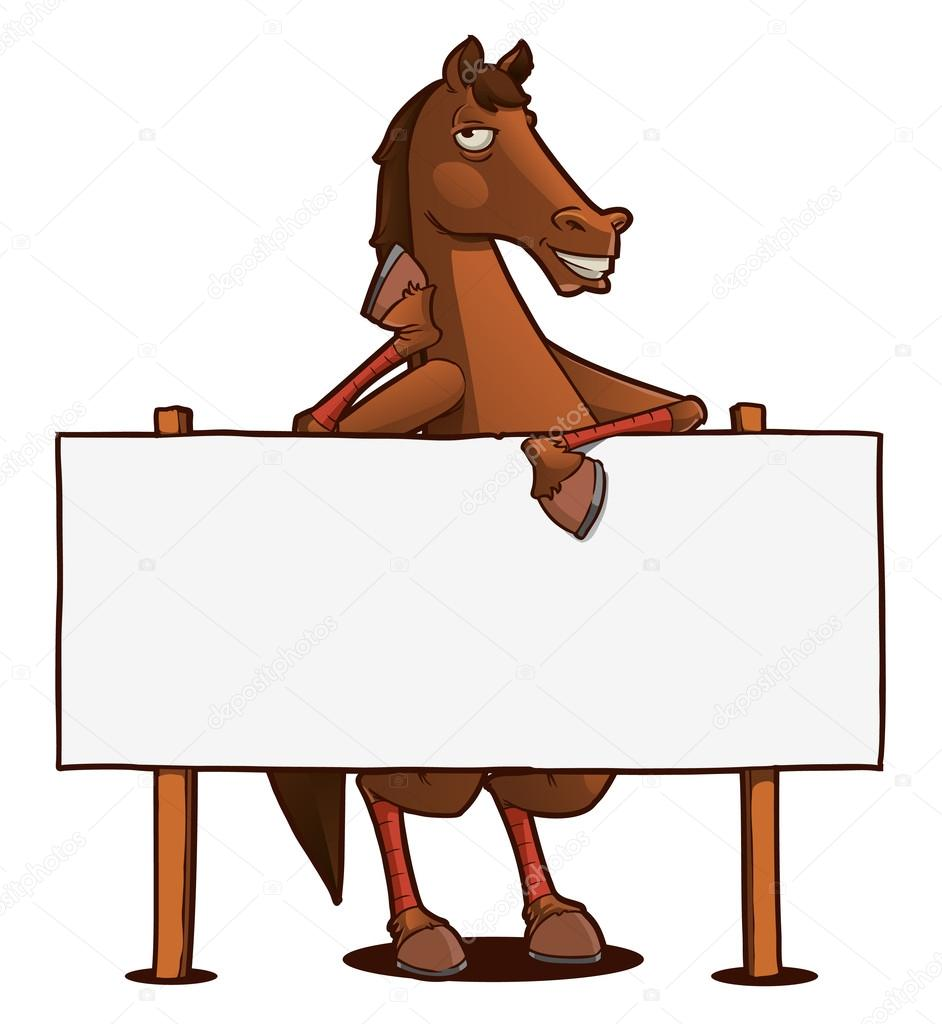 Funny Horse Cartoon Character With Blank Board Premium Vector In Adobe Illustrator Ai Ai Format Encapsulated Postscript Eps Eps Format