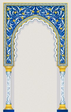 Islamic arch design in classic blue color