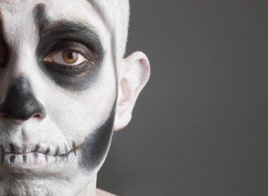 Face man skull, sad expression