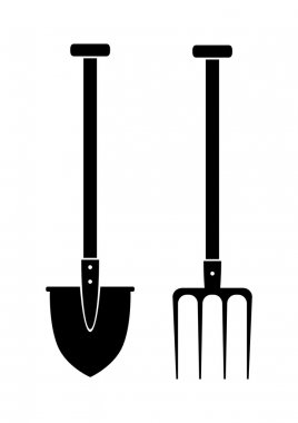 Spade and pitchfork on white background