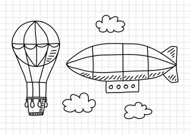 Hot air balloon and airship on squared paper