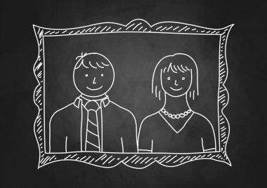 Parents portrait on blackboard stock vector