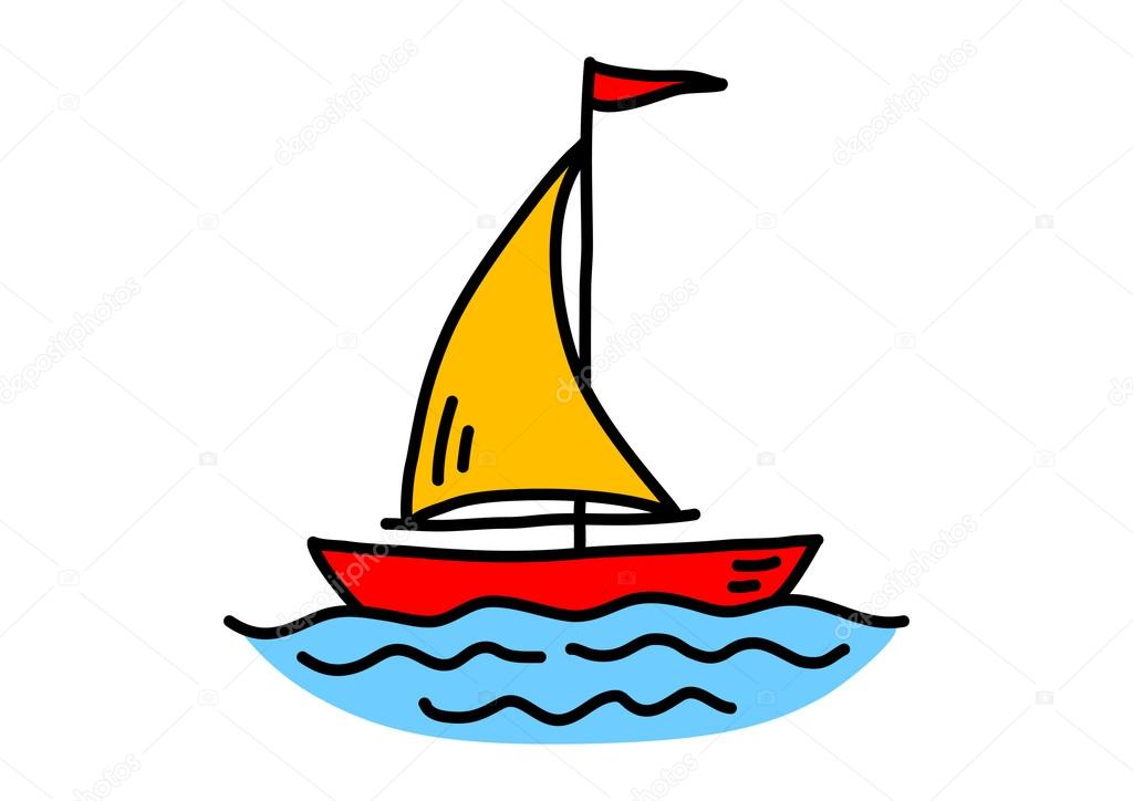 рисуем лодку на море