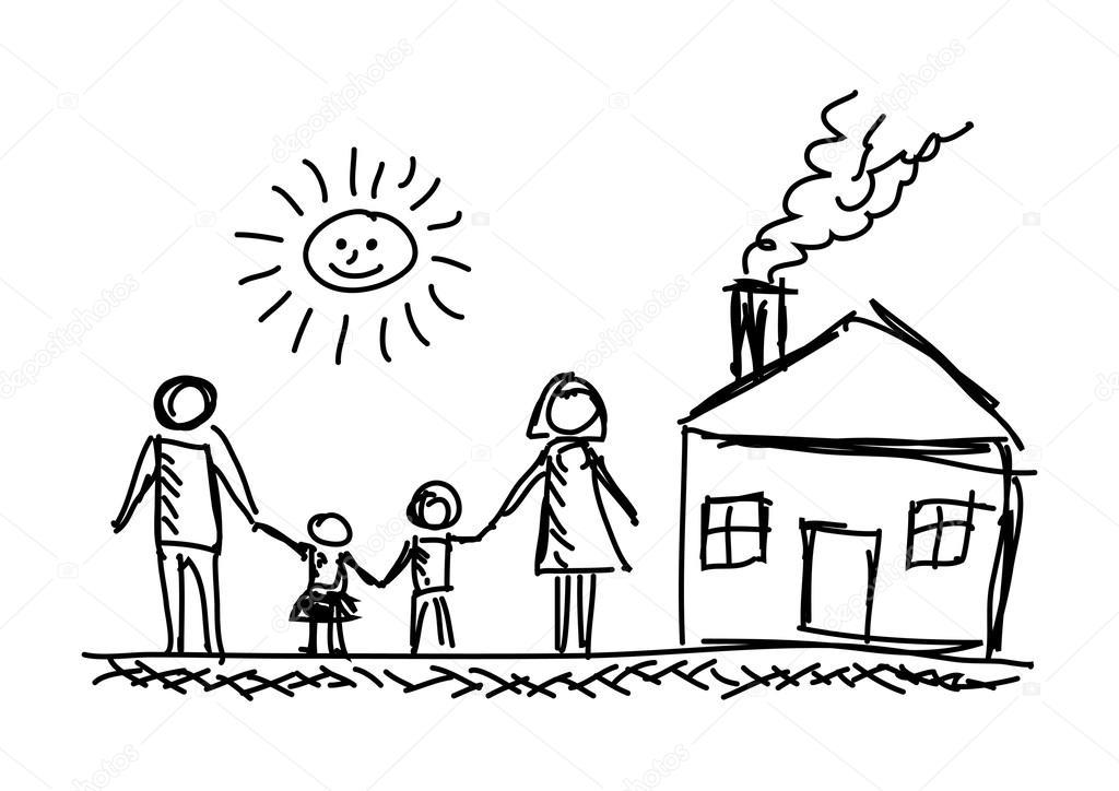 Disegno della famiglia e casa vettoriali stock for Disegno della casa