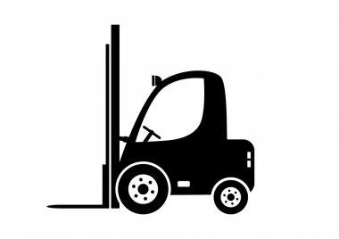 Forklift truck on white background