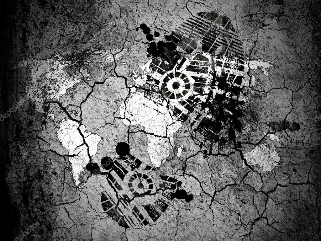 World map drawn on cracked ground with vignette with dirty oil world map drawn on cracked ground with vignette with dirty oil footprint over it stock gumiabroncs Choice Image