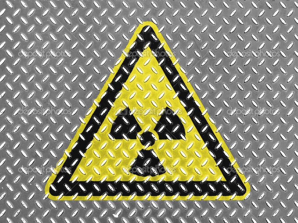 Radioaktive Strahlung Zeichen Die Auf Metall Boden Gezeichnet