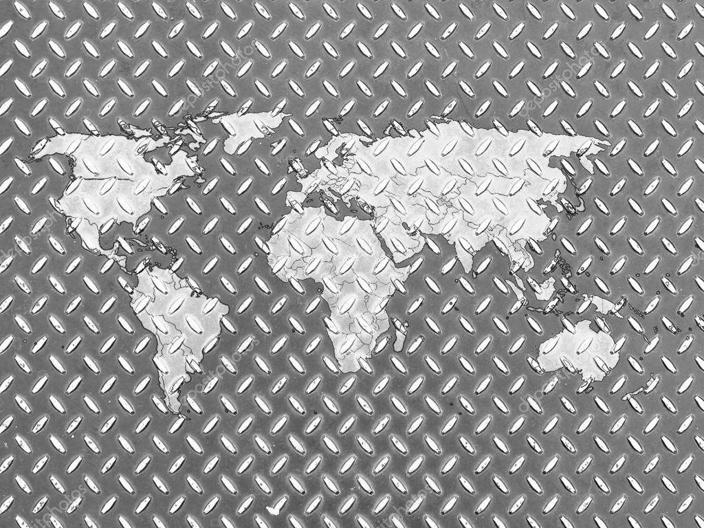 Weltkarte Auf Metall Boden Gezeichnet Stockfoto C Olesha 15368331