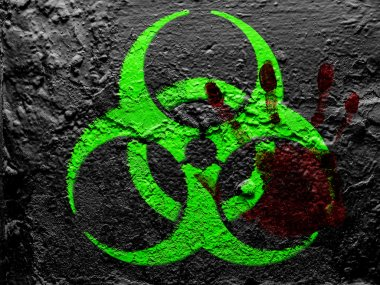 Biohazard sign painted on grunge wall with bloody palmprint over it