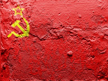 The USSR flag painted on grunge wall