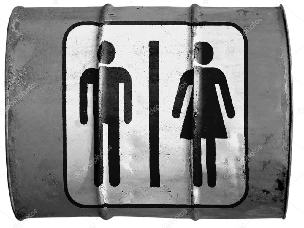 Toilet sign painted on oil barrel