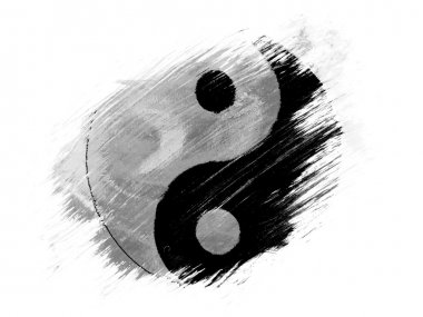 The Ying Yang sign painted on painted with brush on white background