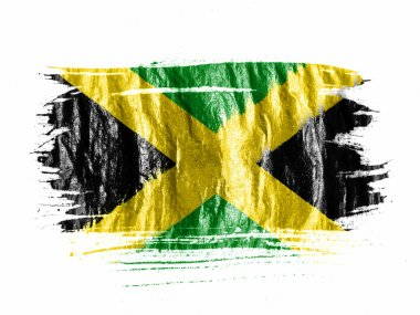 Jamaica flag painted with watercolor on wet white paper