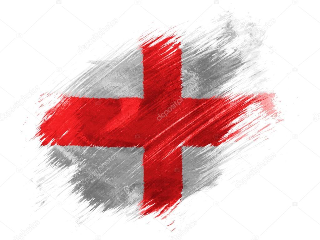 Inghilterra Bandiera Inglese Dipinta Con Pennello Su Sfondo Bianco