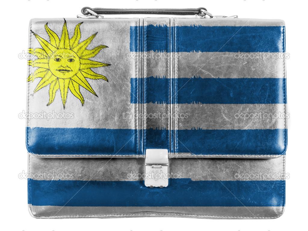 79e470834 Bandera de Uruguay pintada en briefcaseor pequeño bolso de cuero– Imagen de  Archivo