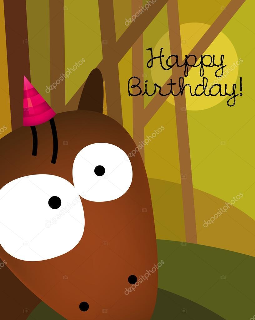 kůň k narozeninám přání k narozeninám s roztomilý kůň — Stock Vektor © ensieharabie  kůň k narozeninám