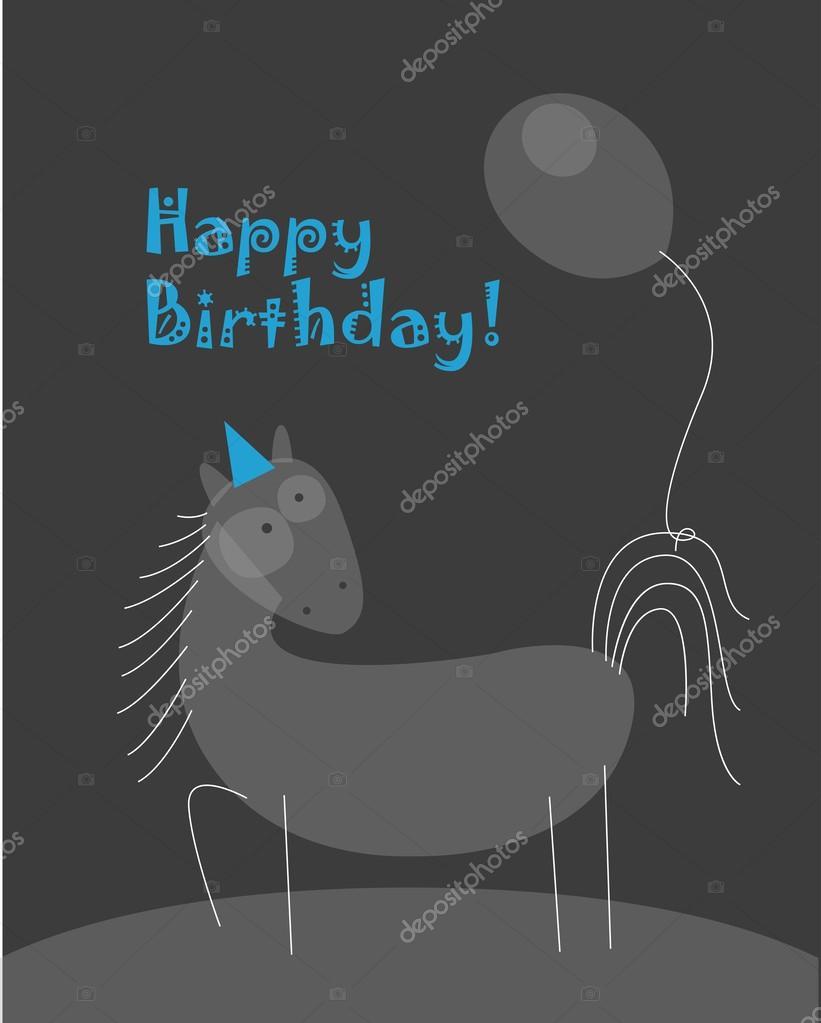 kůň k narozeninám přání k narozeninám s koněm drží balon — Stock Vektor  kůň k narozeninám