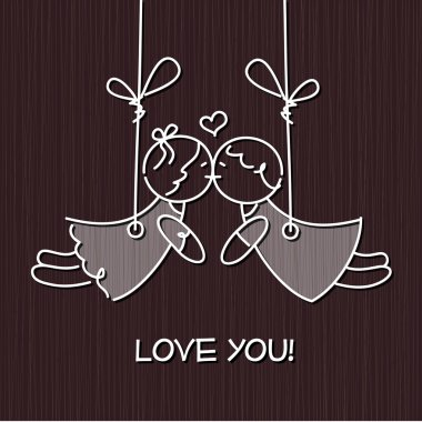 Love card with cute dolls on a grunge background