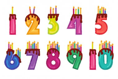 Colorful numeral candles