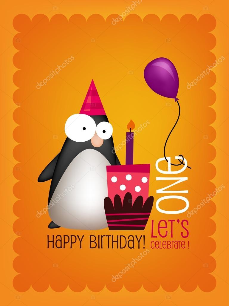 Birthday Card With Funny Penguin Stock Vector Ensieharabie 42394049