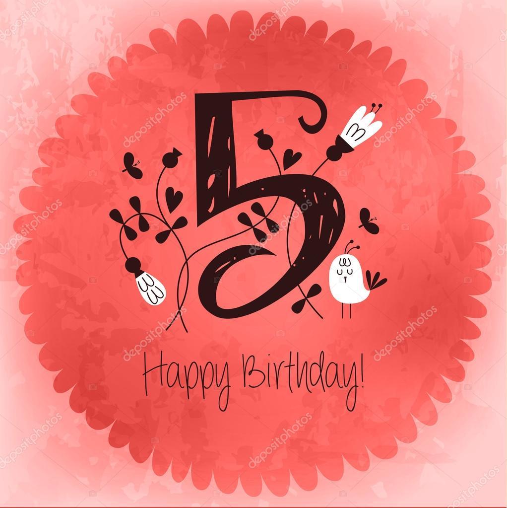 Vintage Happy Birthday card invitation with Number 5 – Vintage Happy Birthday Cards