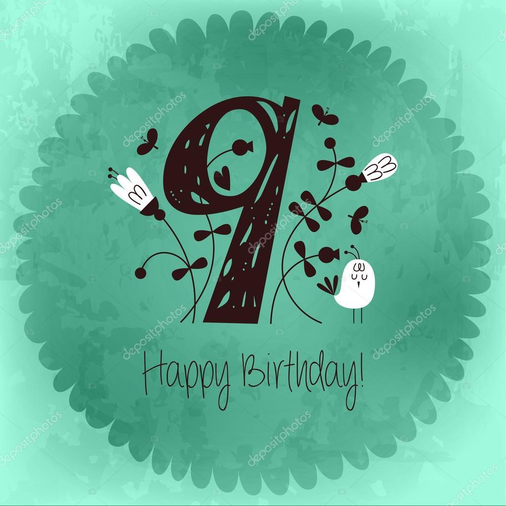 Vintage Happy Birthday card invitation with Number 9 – Vintage Happy Birthday Cards
