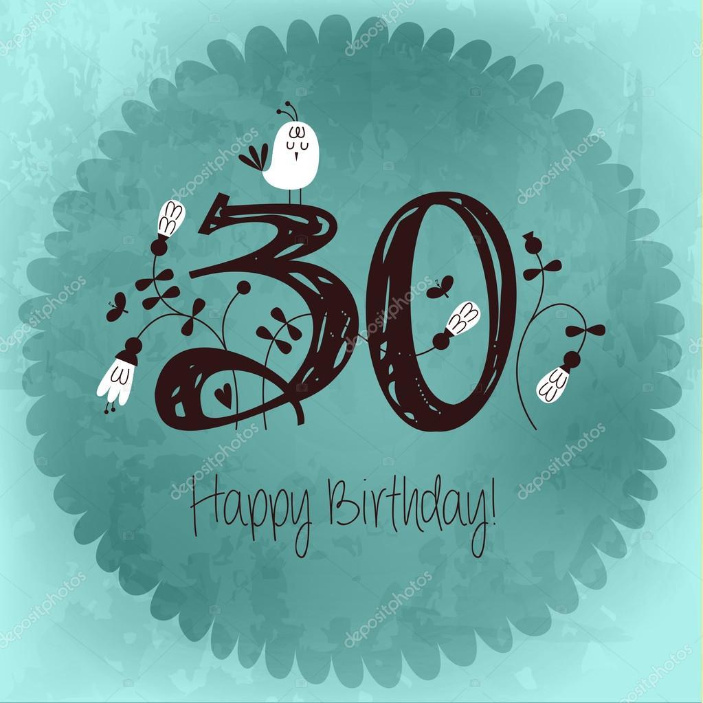 invitación tarjeta Vintage feliz cumpleaños número 30 — Vector de ...