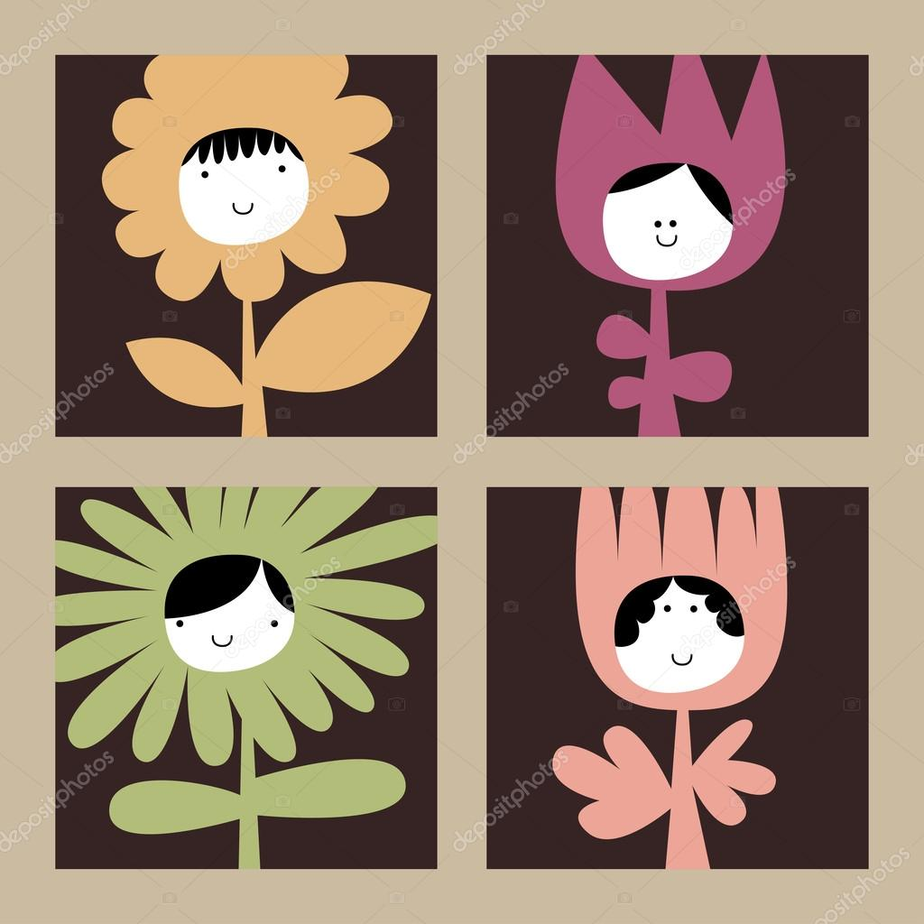 Flowers with funny faces