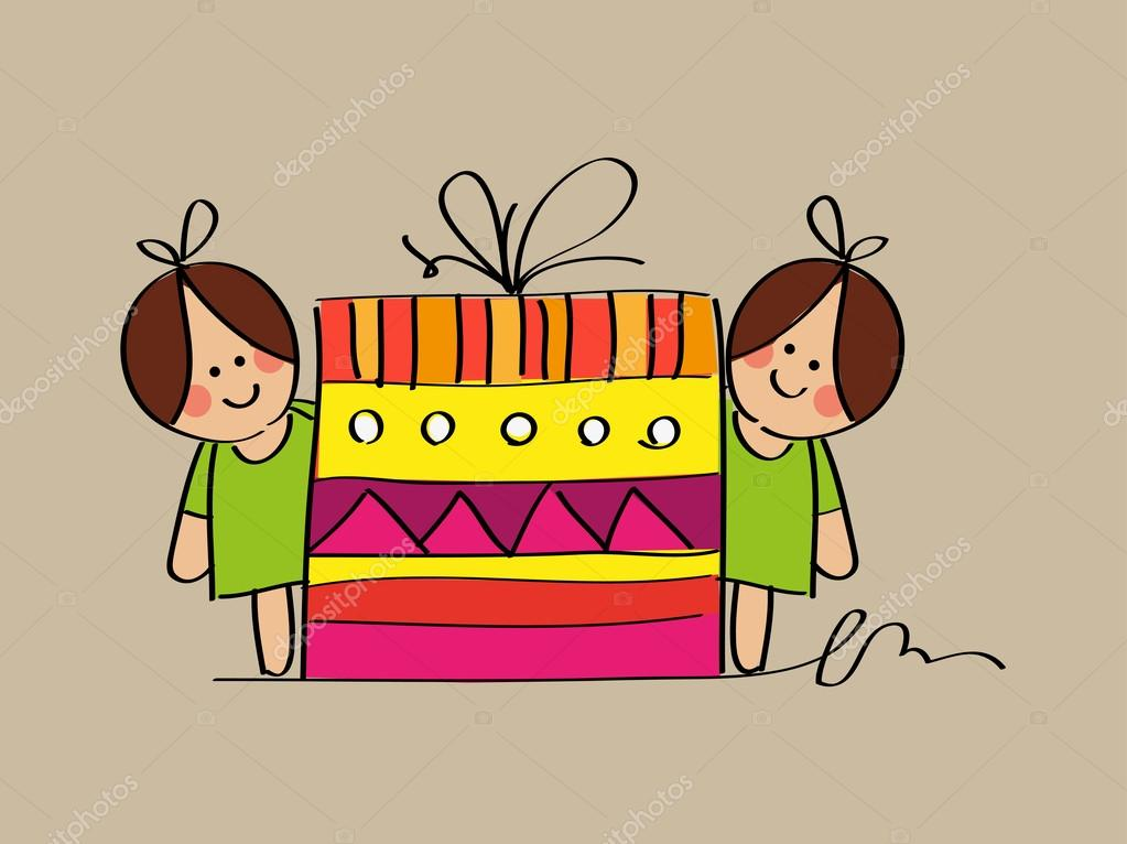 Cute Twin Girls Sketch With A Birthday Gift Stock Illustration