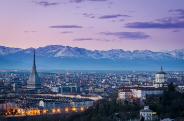 Turin (Torino), twilight panorama with Mole Antonelliana and Alps