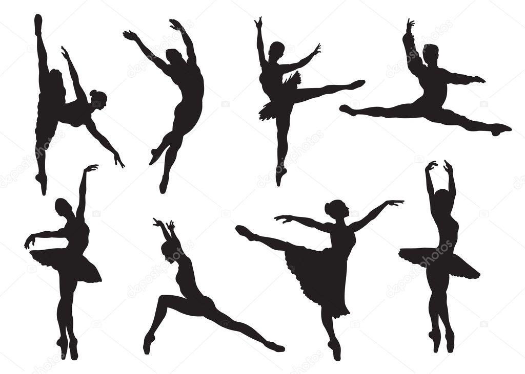 Siluetas De Los Bailarines De Ballet