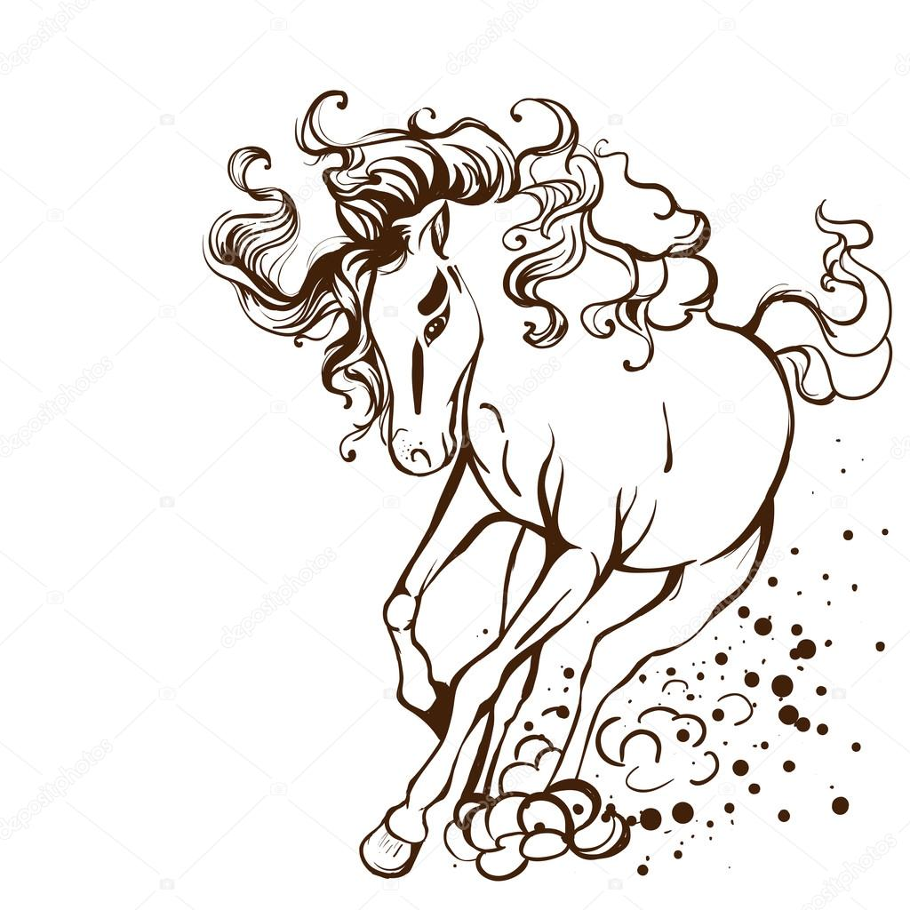 ᐈ Clip Art Horses Running Stock Drawings Royalty Free Horses Running Images Download On Depositphotos