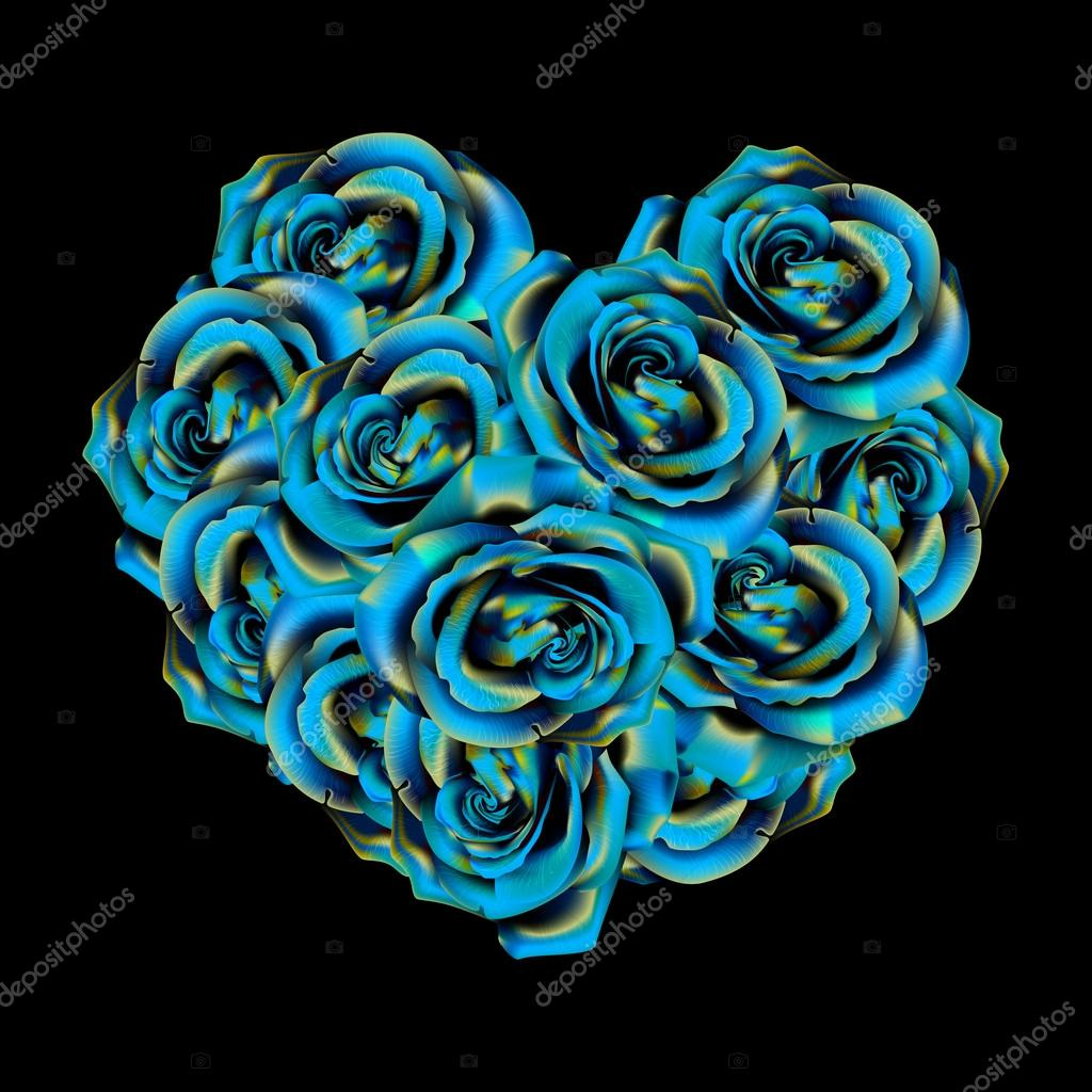 Heart made of blue roses stock vector blackspring1 for How are blue roses made