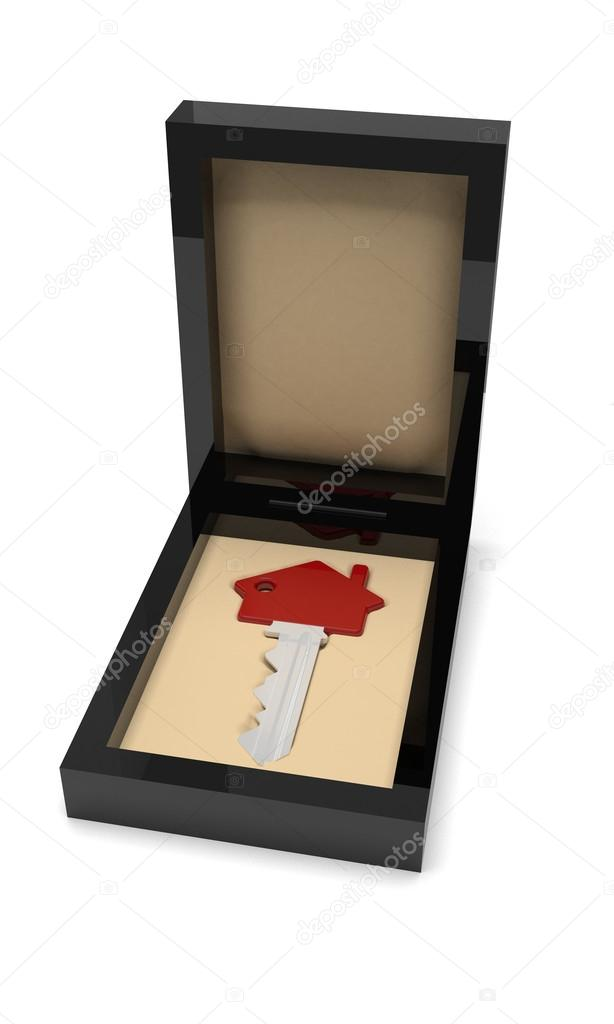 House Shaped Key In The Gift Box Stock Photo