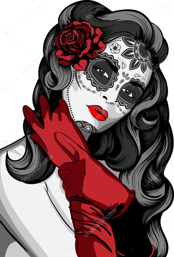 Day Of The Dead Lady Tattoo Designs