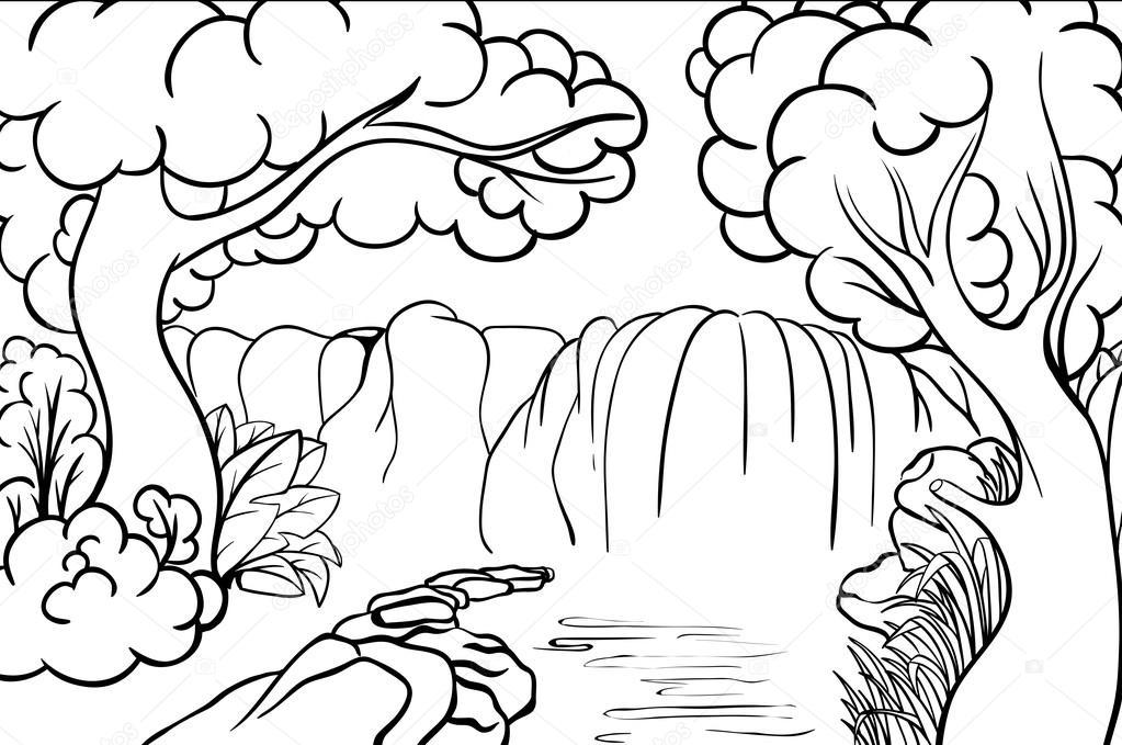 Cascada En El Libro Del Bosque De Colorig Vector De Stock