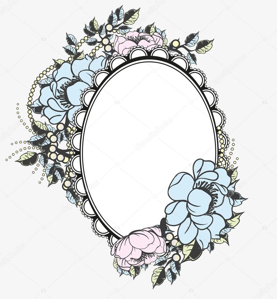 Oval floral frame template — Stock Vector © BlackSpring1 #28592107