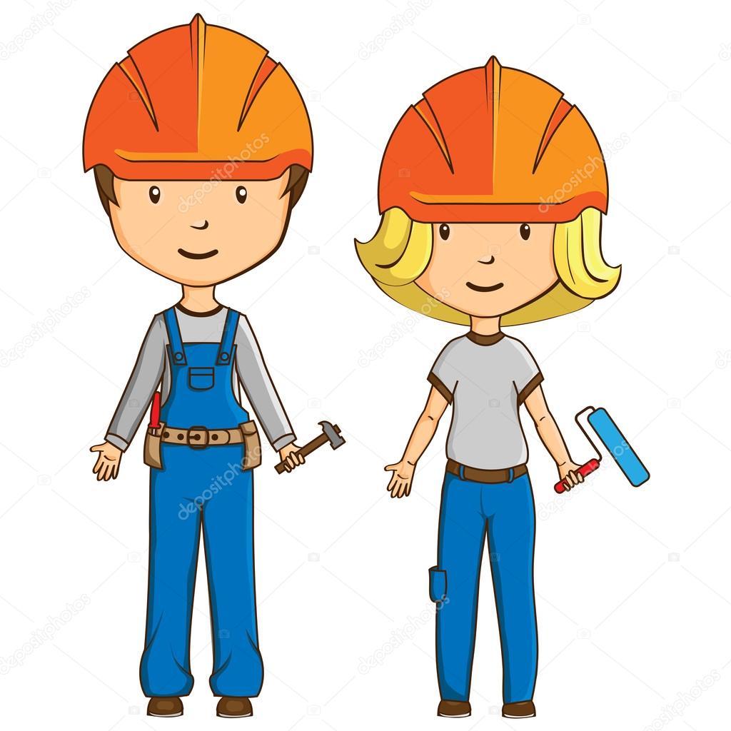 Dos Trabajadores De Estilo De Dibujos Animados Vector De