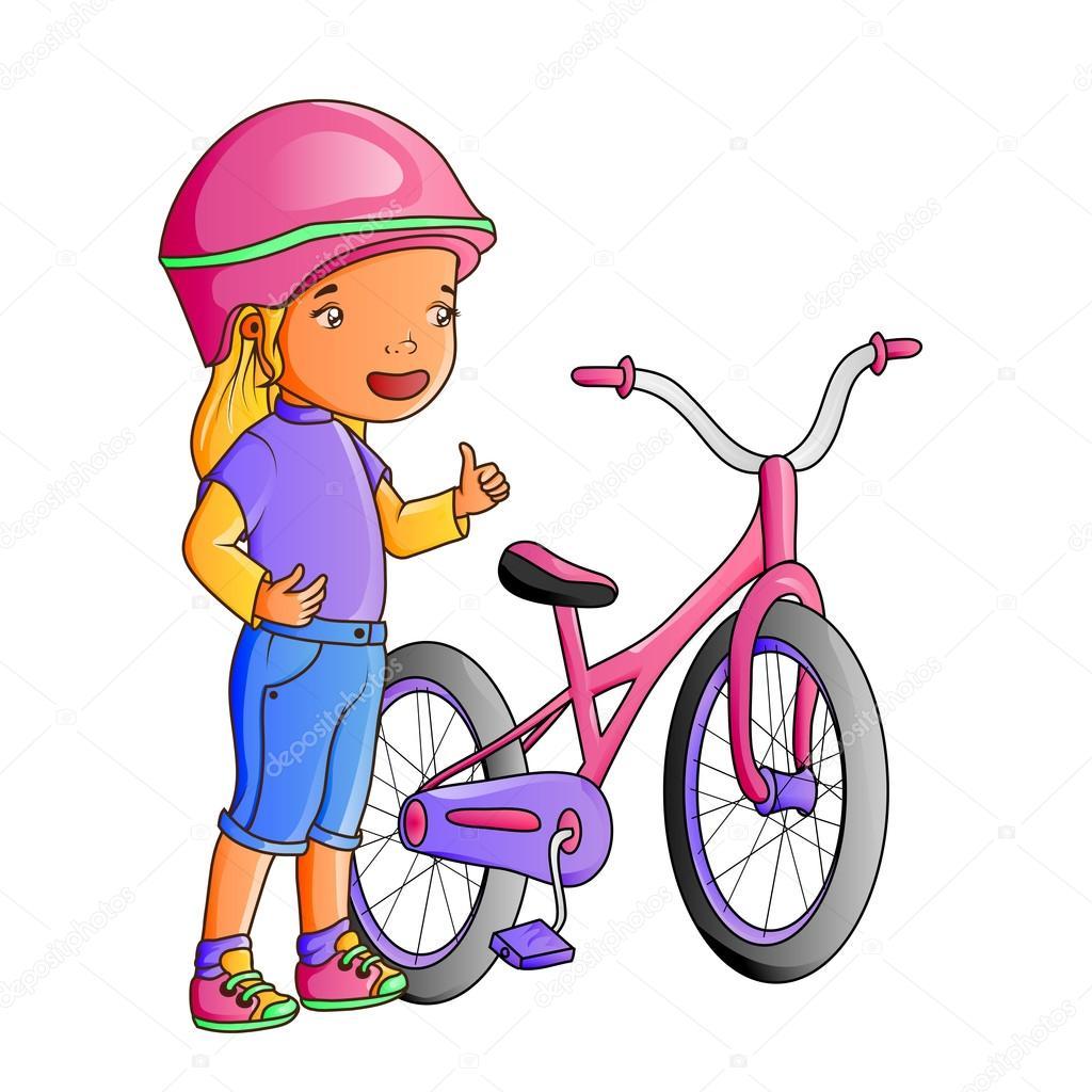 niña linda con bicicleta de dibujos animados — Archivo Imágenes ...