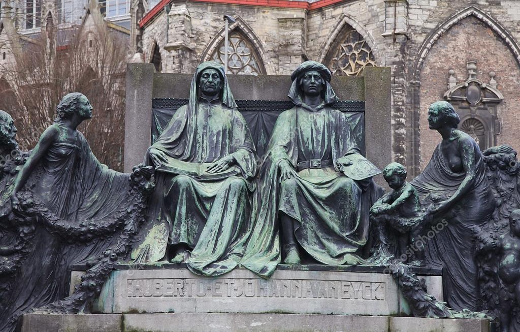 Bronzedenkmal (um 1912) für die Brüder hubert und jan van eyck, berühmte Maler der xiv-xv Jahrhunderte. Gent, Ostflandern, Belgien — Foto von joymsk